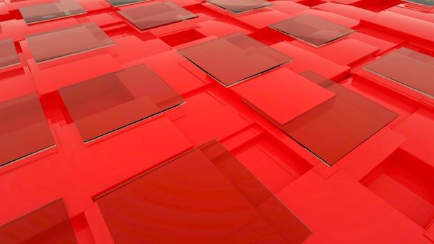 3d-darstellung von transparenten glasrechtcken auf einem roten isolierten hintergrund. abstrakte glasscheiben liegen. 3d-grafik
