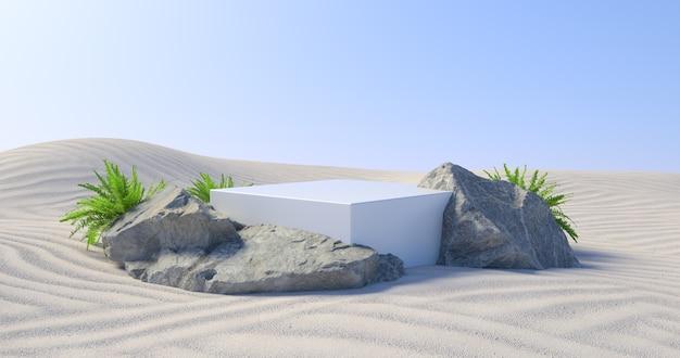 3d-darstellung von weißem podium und pflanze