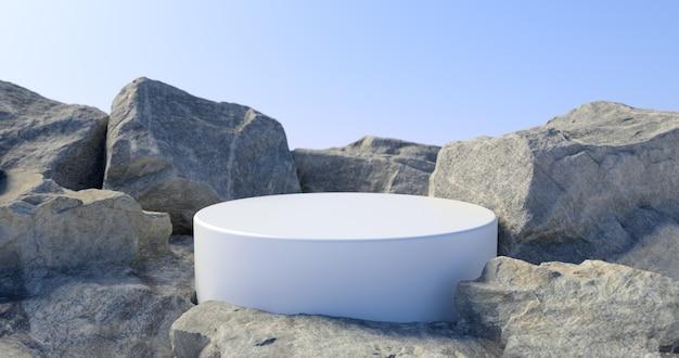 3d-darstellung von weißem podium und stein