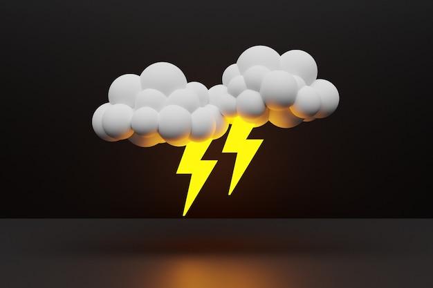 3d-darstellung von wolken mit blitz auf schwarzem hintergrund isoliert. wettervorhersagesymbole
