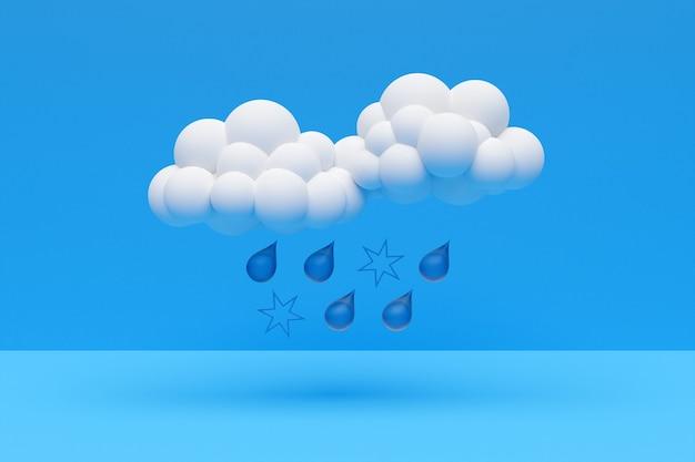 3d-darstellung von wolken mit regen und schnee auf einem blauen hintergrund isoliert. wettervorhersagesymbole