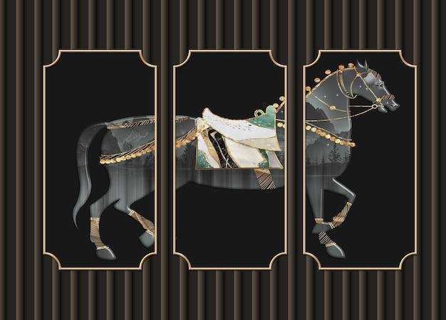 3d-darstellung wandtapete schwarzer hintergrund und pferd in rahmen für die wand zu hause dekorativ