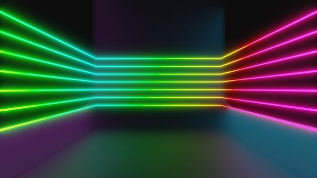 3d-darstellungswiedergabe. farbige neonlichtlinienform in einem dunklen raum mit perspektivischer ansicht. futuristische und technologische konzepte.