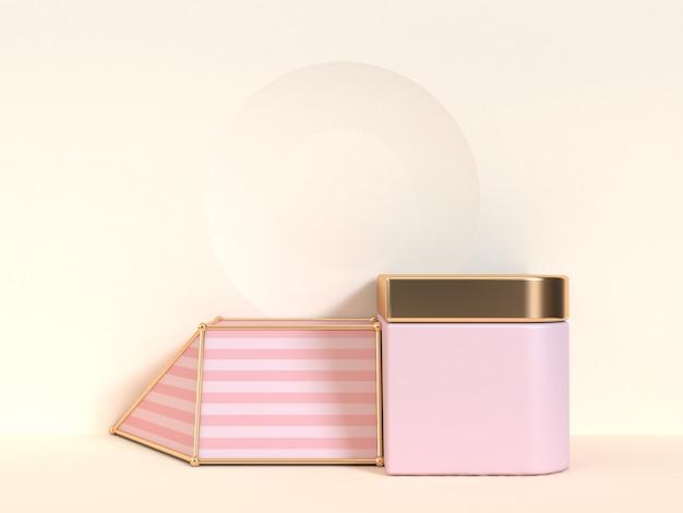 3d, das abstrakte rosa creme überträgt, tritt podiumszene
