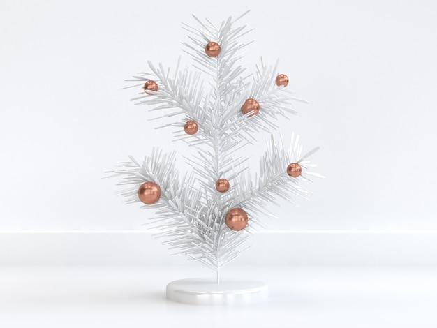 3d, das abstrakten minimalen weißen weihnachtsbaum mit kupfernem bereichweihnachtsfeiertagswinter des neuen jahres überträgt