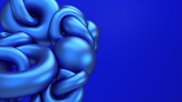 3d, das blaue metallische flugwesenabstraktion überträgt. computererzeugte illustration von formen der weichen flüssigkeit. mutiger elektrischer blauer hintergrund