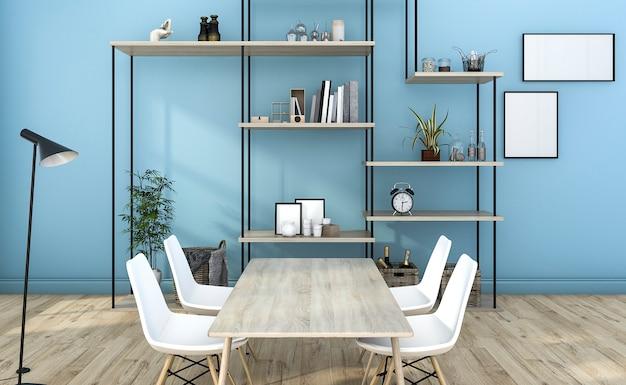3d, das blaues artwohnzimmer mit regaldekoration überträgt