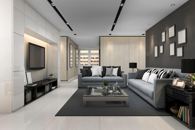 3d, das blaues sofa im modernen grauen wohnzimmer mit fernsehapparat überträgt