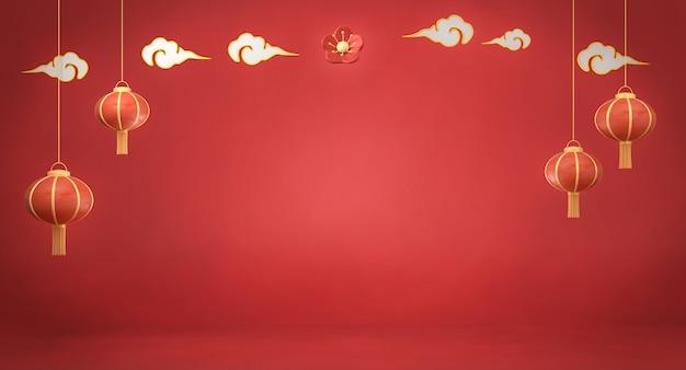 3d, das chinesische laternen auf rotem hintergrund überträgt