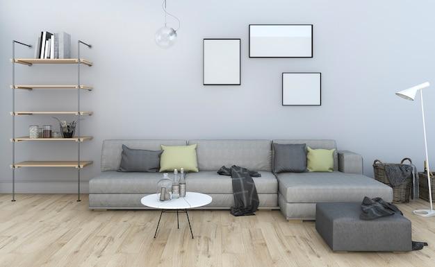 3d, das graues wohnzimmer der netten weinlese mit möbeln überträgt