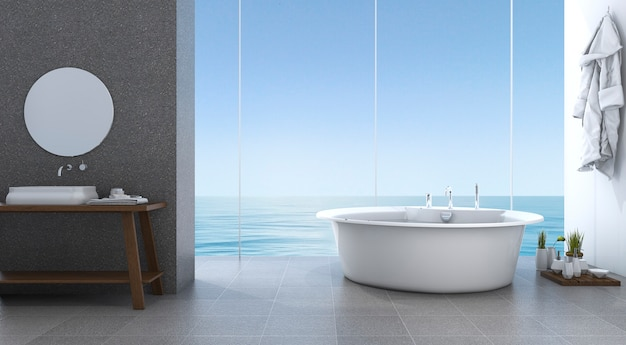 3d, das helles minimales badezimmer nahe strand überträgt
