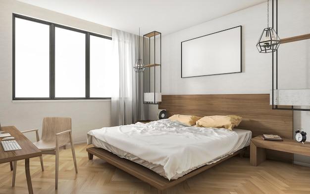3d, das helles minimales schlafzimmer mit kleiner arbeitstabelle überträgt