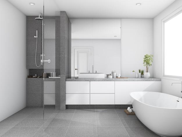 3d, das hölzernes badezimmer des luxus und der modernen art nahe fenster überträgt