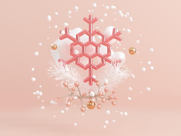 3d, das klaren rosa metallischen schneeflockenschwebezusammenfassungswinter überträgt