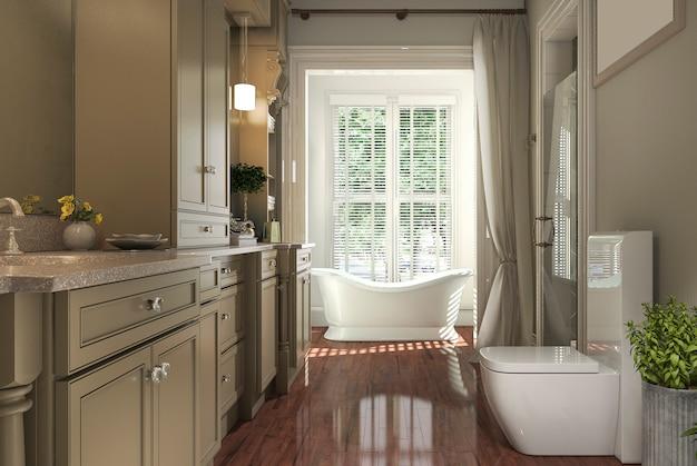 3d, das klassisches badezimmer mit holzfußboden- und gartenansicht vom fenster überträgt
