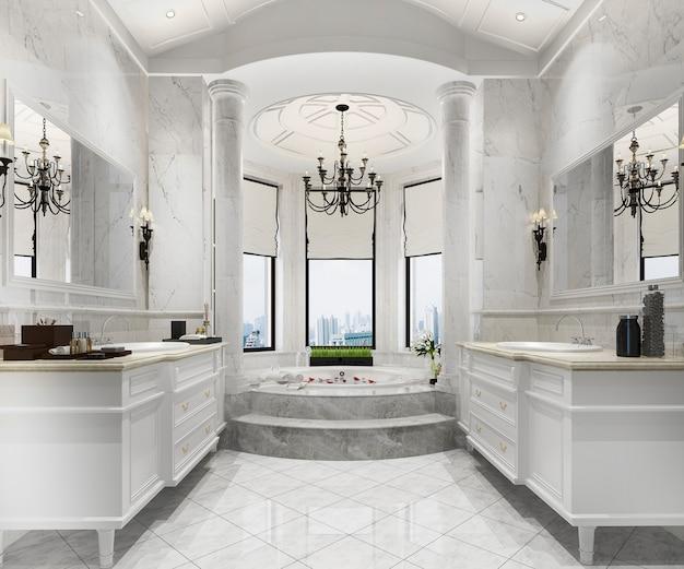 3d, das klassisches modernes badezimmer mit luxusfliesendekor überträgt