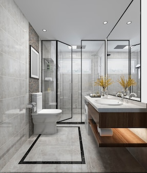 3d, das luxusbadezimmer und toilette des modernen designs überträgt