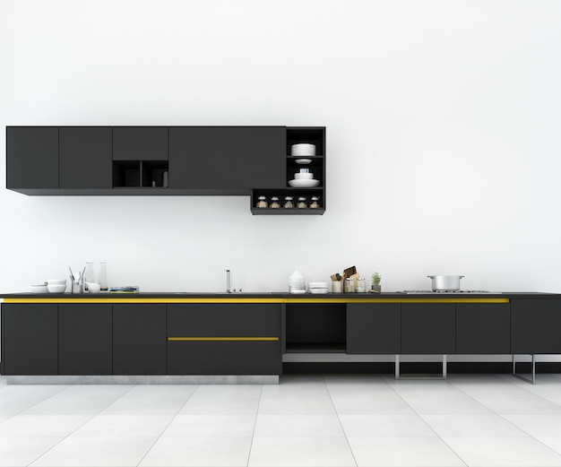 3d, das minimale gelbe und schwarze und retro- küche im dachbodendesign überträgt