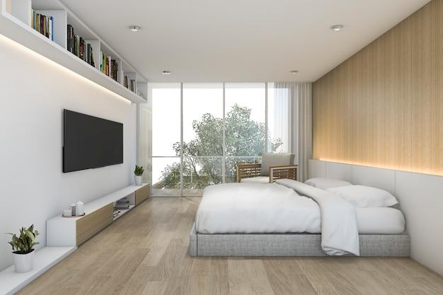 3d, das minimales hölzernes schlafzimmer mit fernsehapparat und regal überträgt