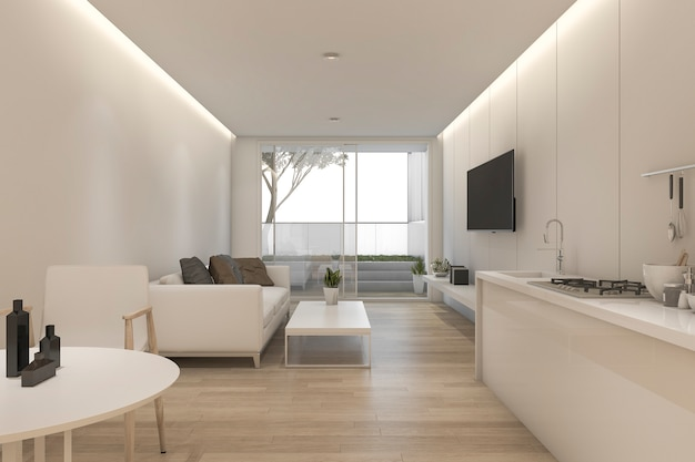 3d, das minimales weißes wohnzimmer und küche mit dekor überträgt