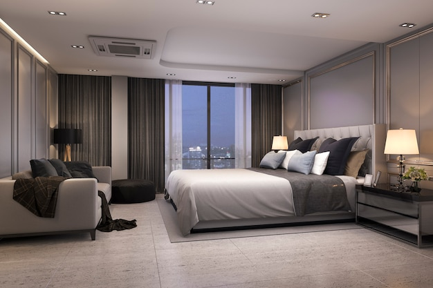 3d, das moderne luxusschlafzimmersuite nachts mit gemütlichem design überträgt