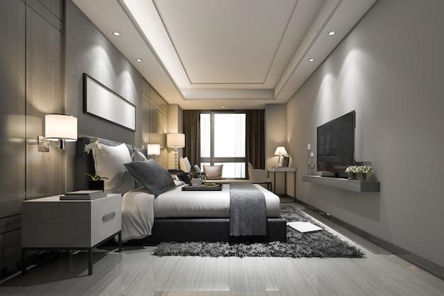 3d, das moderne luxusschlafzimmersuite und -badezimmer überträgt