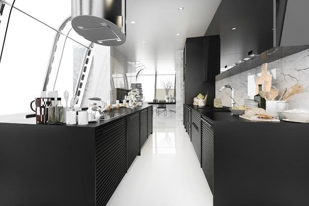 3d, das moderne schwarze küche mit dem modernen holz innen errichtet überträgt
