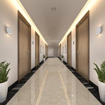 3d, das modernen luxusholz- und fliesenhotelkorridor überträgt