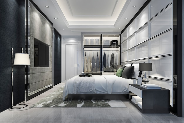 3d, das modernen schlafzimmersuitenluxusfernsehen mit garderobe überträgt und im wandschrank geht