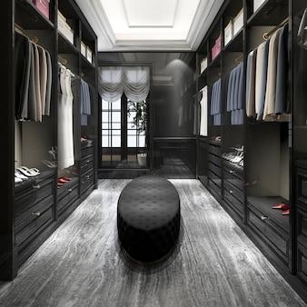 3d, das modernen skandinavischen schwarzen hölzernen weg im wandschrank mit garderobe überträgt