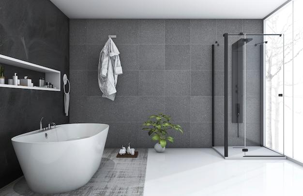 3d, das modernes artbadezimmer mit netter winteransicht überträgt