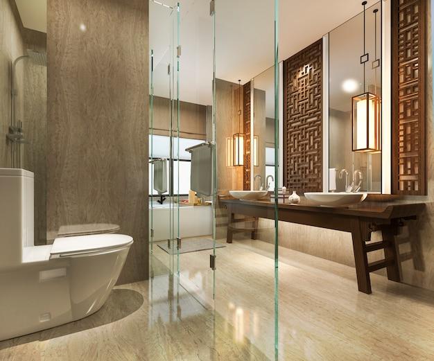 3d, das modernes badezimmer mit luxusfliese und chinesischem wanddekor überträgt