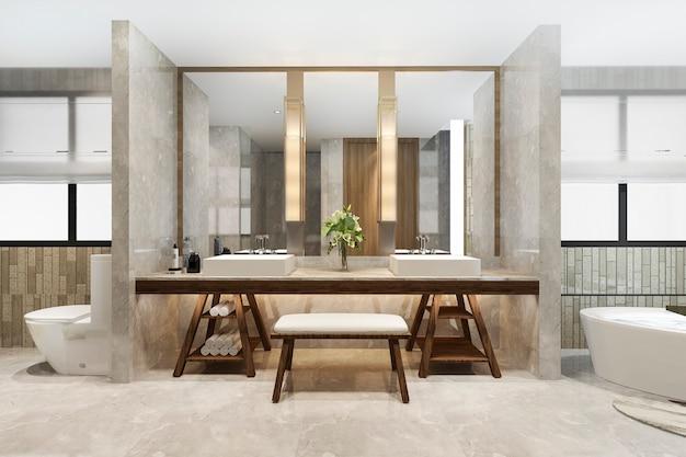 3d, das modernes badezimmer mit luxusfliesendekor überträgt