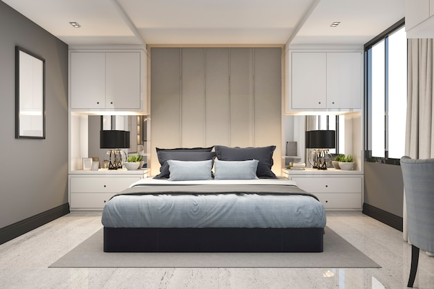 3d, das modernes blaues luxusschlafzimmer mit marmordekor überträgt
