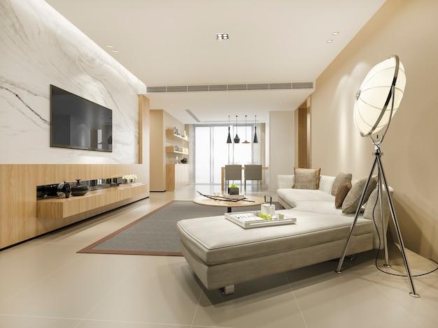 3d, das modernes esszimmer und wohnzimmer mit luxusdekor überträgt