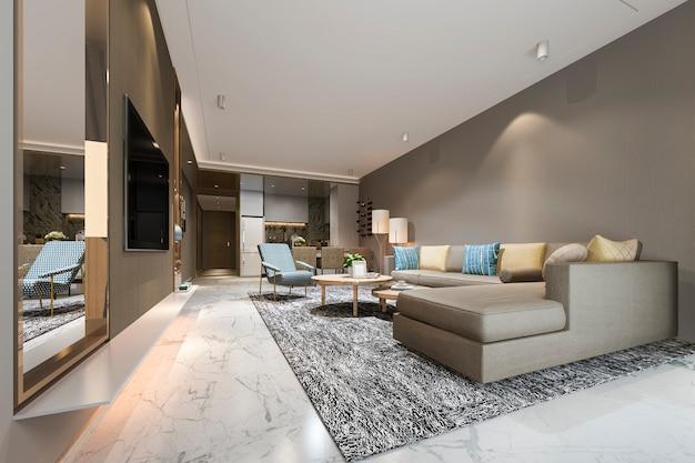 3d, das modernes esszimmer und wohnzimmer nahe küche mit buntem luxusdekor überträgt
