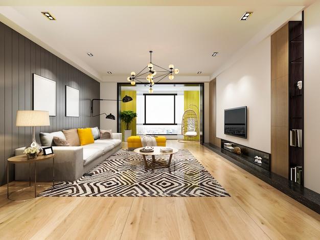 3d, das modernes gelbes wohnzimmer mit luxusdekor überträgt