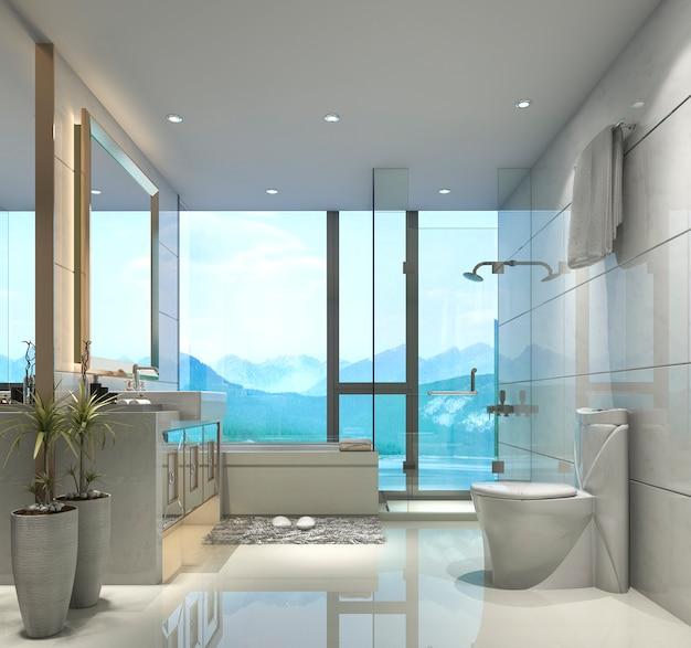 3d, das modernes klassisches badezimmer mit luxusfliesendekor mit netter naturansicht vom fenster überträgt