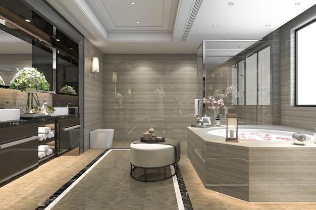 3d, das modernes klassisches badezimmer mit luxusfliesendekor mit schöner aussicht vom fenster überträgt