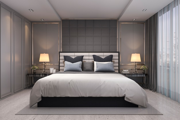 3d, das modernes klassisches luxusschlafzimmer mit marmordekor überträgt