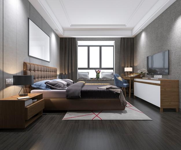 3d, das modernes luxusschlafzimmer mit dachbodenart überträgt