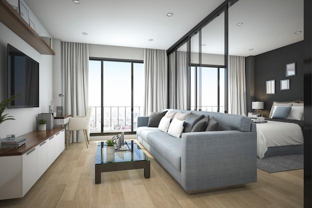3d, das modernes minimales hölzernes wohnzimmer und schlafzimmer in der wohnung überträgt
