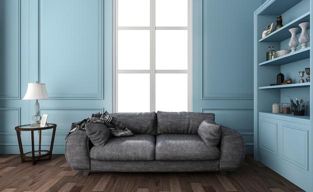 3d, das nettes blaues wohnzimmer mit bequemem sofa überträgt