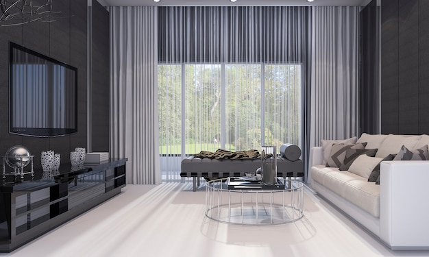 3d, das nettes luxuswohnzimmer des modernen designs mit grauem sofa und fernsehregal überträgt