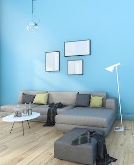3d, das nettes minimales blaues wohnzimmer mit möbeln überträgt