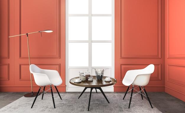3d, das nettes rotes wohnzimmer mit schönem weißem stuhl überträgt