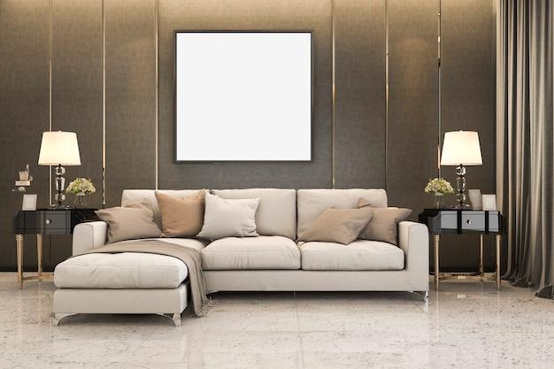 3d, das nettes weiches sofa nahe goldenem luxusdekor überträgt