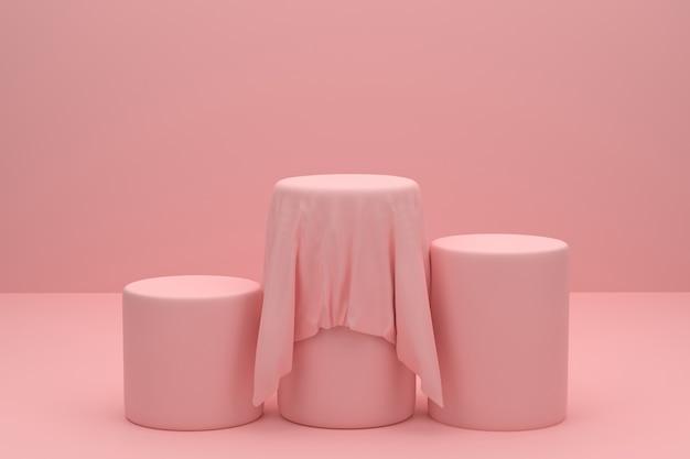 3d das podium präsentiert pinkfarbene waren mit einem schleier, der sich durch die präsentation von produkten abhebt