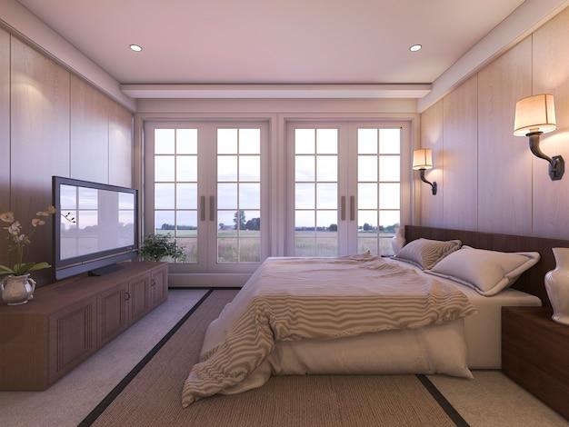 3d, das romantisches luxusschlafzimmer mit fernsehen und schöner aussicht vom fenster überträgt