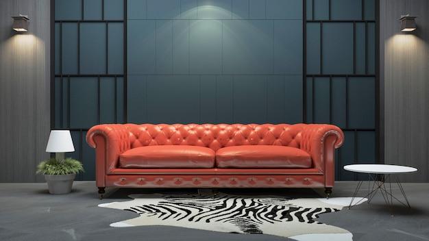 3d, das rotes ledernes sofa im dachbodenartwohnzimmer überträgt